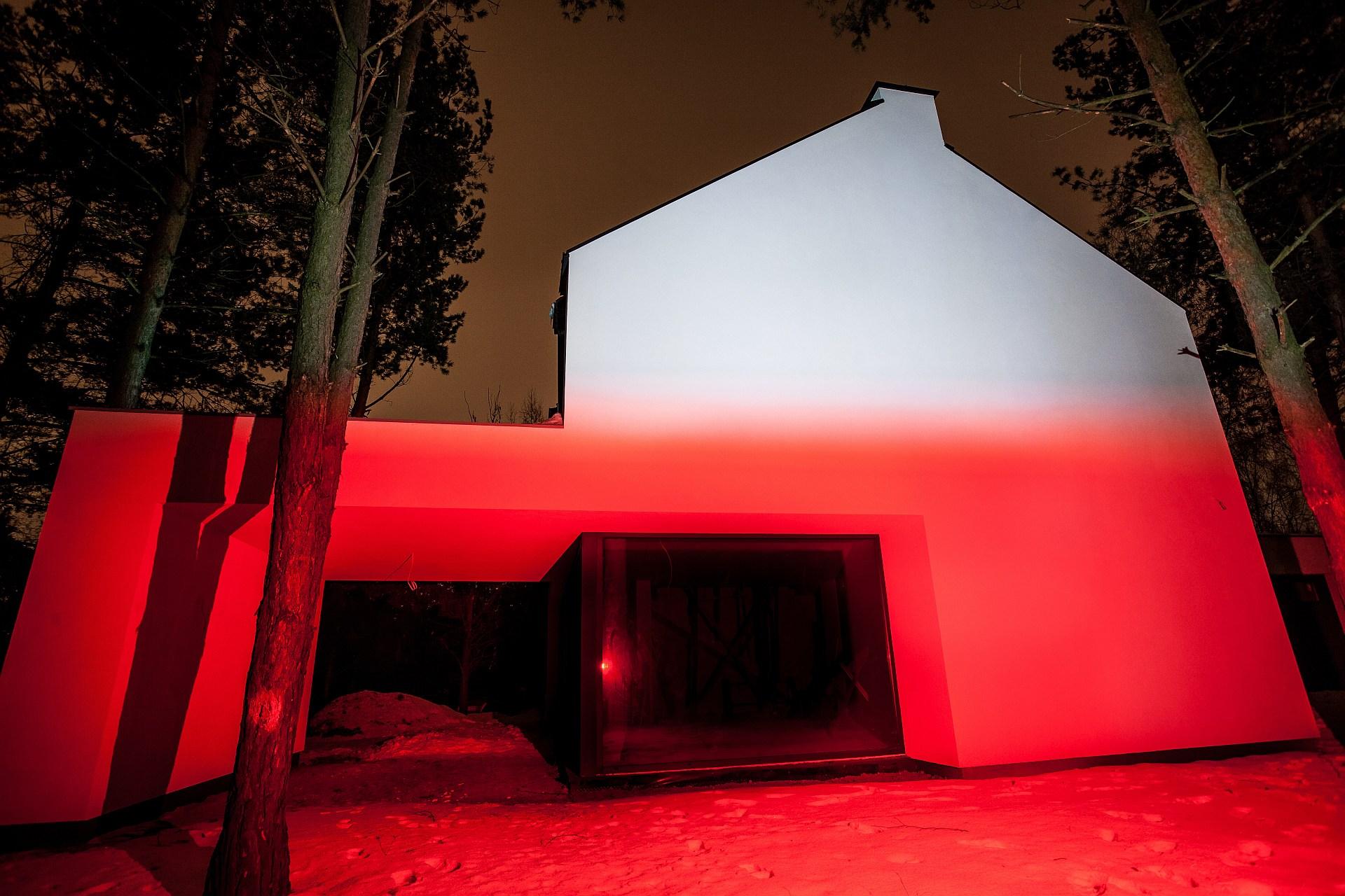 Naświetlacz Led Z Biało Czerwonym światłem Oświetlenie